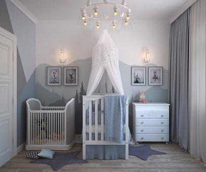 Habitación de bebé con dos cunas y una cómoda blanca