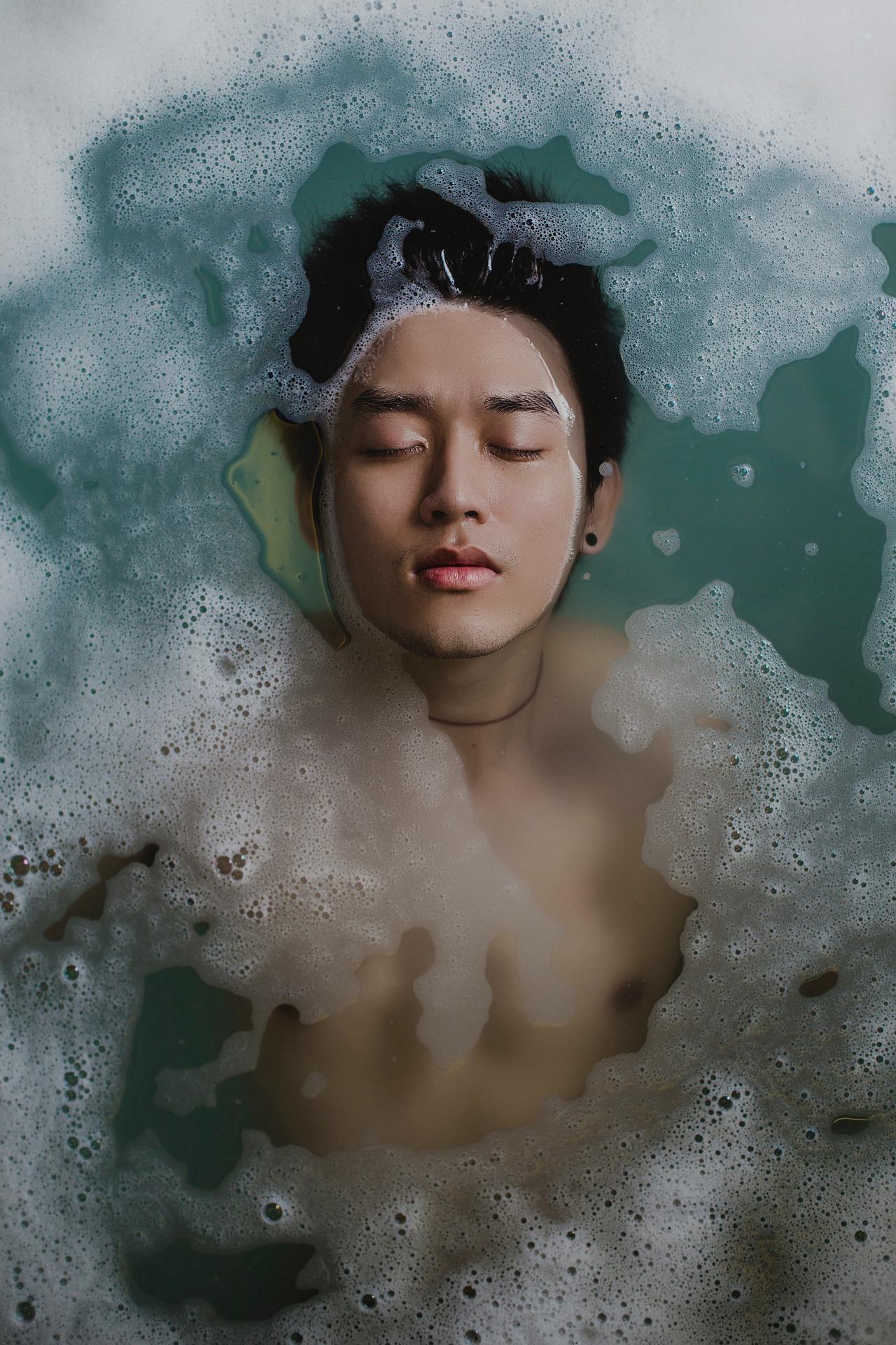 boy relaxed bath